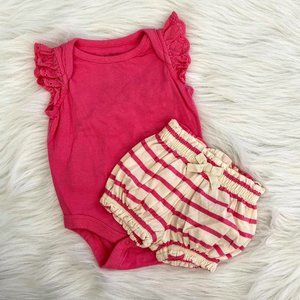 Baby Gap Pretty In Pink Onesie & Shorts 0/3M